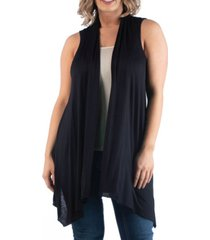 24seven comfort apparel women's plus size asymmetric open front cardigan