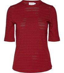 pointelle t-shirt ss t-shirts & tops short-sleeved rood calvin klein