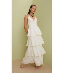 vestido iódice longo decote v com camadas feminino - feminino