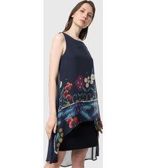 vestido azul oscuro-multicolor desigual