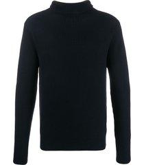 barena contrast knit roll neck sweater - blue