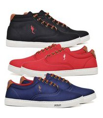 kit 3 pares sapatênis polo blu casual cano alto e cano baixo preto/vermelho/azul