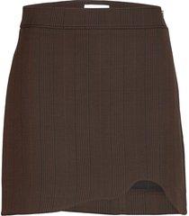 suiting skirt kort kjol brun ganni