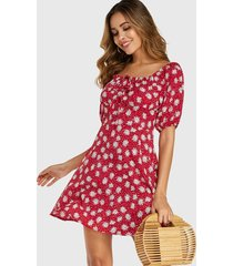 red random floral print square neck drawstring dress