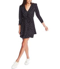 1.state ruched polka-dot wrap dress