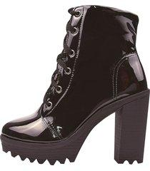 bota coturno salto alto chyrro calçados verniz preto