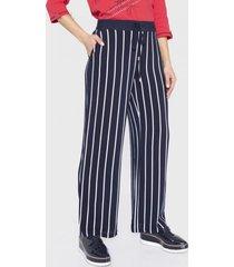 pantalón palazzo con elástico cintura azul curvi