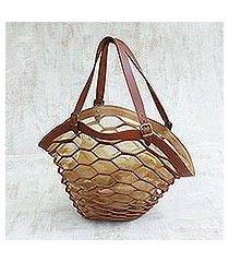 leather shoulder bag, 'nutmeg sambura' (13 inch) (brazil)