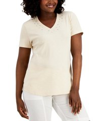 karen scott petite cotton studded t-shirt, created for macy's