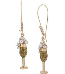 betsey johnson champagne dangle earrings
