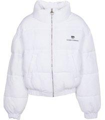 chiara ferragni white short down jacket
