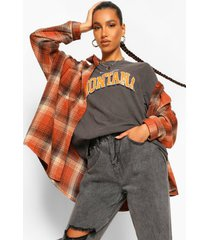 oversized flanneled shirt, rust
