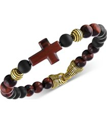 esquire men's jewelry red tiger's eye & black agate beaded cross bracelet in 14k gold over sterling silver