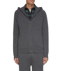 side stripe cotton cashmere full zip hoodie