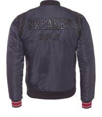 jaqueta masculina nylon acabamento retilinea - preto