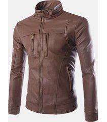 giacca da uomo in pelle pu con collo termico con cerniera sul petto