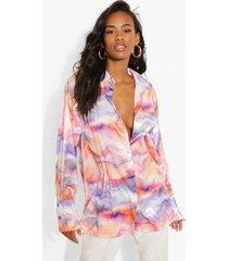 oversized satijnen blouse met abstracte opdruk, multi