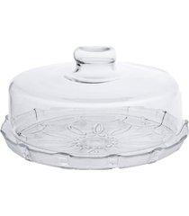 boleira de vidro com tampa - prato para bolo com tampa estilo romano - kanui