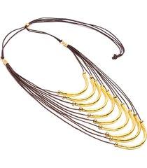 collar de mujer dorado 9 barre satinate piccole brass colection by vestopazzo