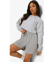 petite high waist jersey boxer short, grey marl