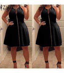 zanzea summer dress mujeres con cuello en v una línea de vestidos de fiesta casual sin mangas de gran tamaño midi dress plus size vestidos negro -negro