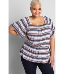 lane bryant women's printed flutter-sleeve square-neck blouse with elastic waist 18/20 arizona stripe