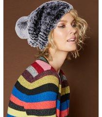 the fur vault knitted rabbit fur hat