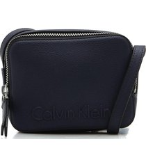 bolsa calvin klein lettering azul-marinho