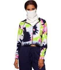 bam by betsy & adam tie-dyed cropped zip-up hoodie with removable dickie mask, created for macy's