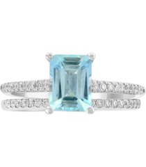 gemstone bridal by effy aquamarine (1-3/8 ct. t.w) & diamond (1/3 ct. t.w.) ring in 18k white gold