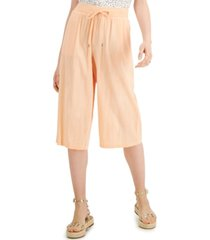 style & co pull-on wide-leg cropped pants, created for macy's