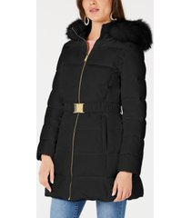 inc belted faux-fur trim hooded puffer coat, created for macy's