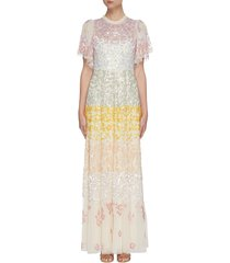 'chakra' rainbow sequin embellished short sleeve tulle gown