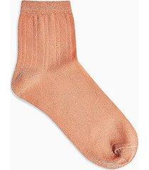 peach ribbed glitter socks - peach