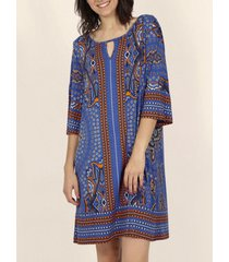 korte jurk admas strandjurk met driekwart mouwen blauw savannah