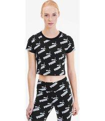 amplified aop fitted t-shirt voor dames, zwart, maat xl | puma