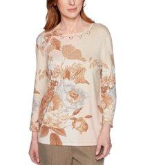 alfred dunner boardroom printed embellished-neck sweater