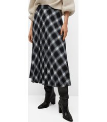 mango women's checked pleated skirt