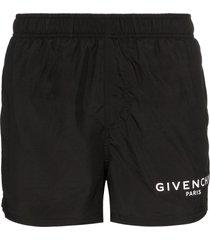 givenchy logo drawstring swim shorts - black