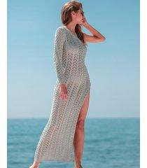 sukienka maxi ażurowa