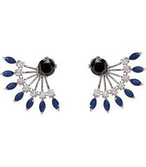 brinco ear jacket the ring boutique cristais azul safira zp ródio ouro branco