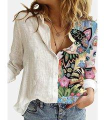 camicetta patchwork con colletto rovesciato manica lunga stampata fiore gatto cartone animato per donna