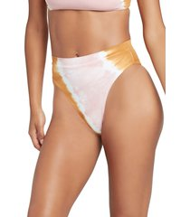 women's l space french cut high waist bikini bottoms, size medium - white