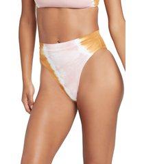 women's l space french cut high waist bikini bottoms, size small - white