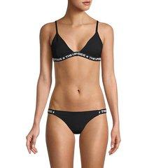 linda logo-tape bikini top