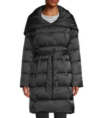 tahari women's hooded puffer coat - black - size s