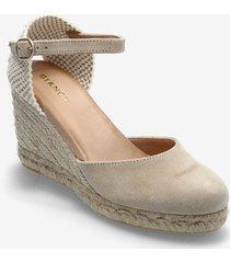 biademi buckle sandal sandalette med klack espadrilles beige bianco