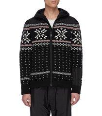 """aspen' contrast hood geometric intarsia zip cardigan"