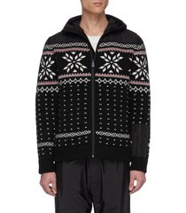 'aspen' contrast hood geometric intarsia zip cardigan