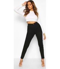 disco skinny jeans met gerafelde zoom en hoge taille, zwart